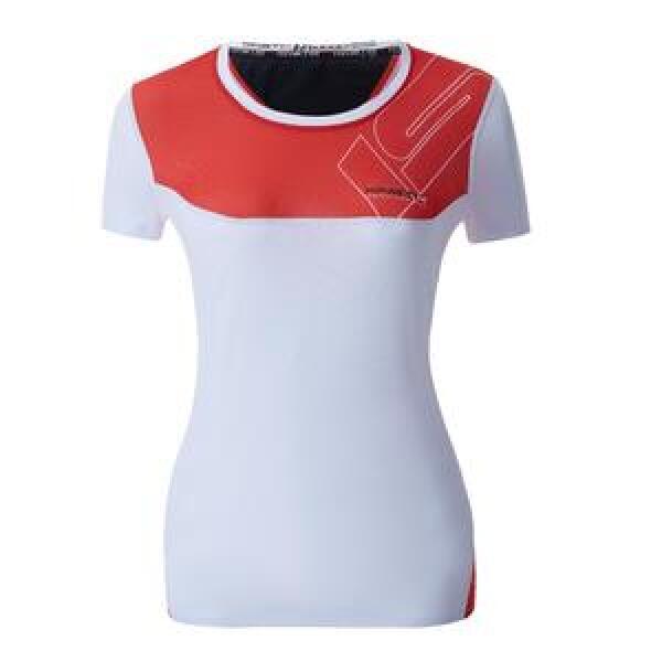 20001802 t shirt isonik manga curta vermelho mulher fitness, nutrition